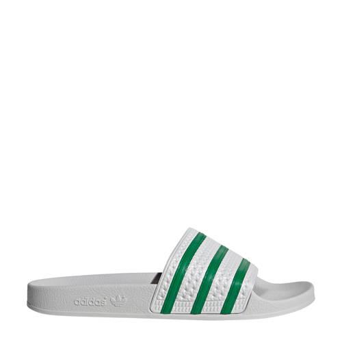 adidas Originals Adilette badslippers wit/groen