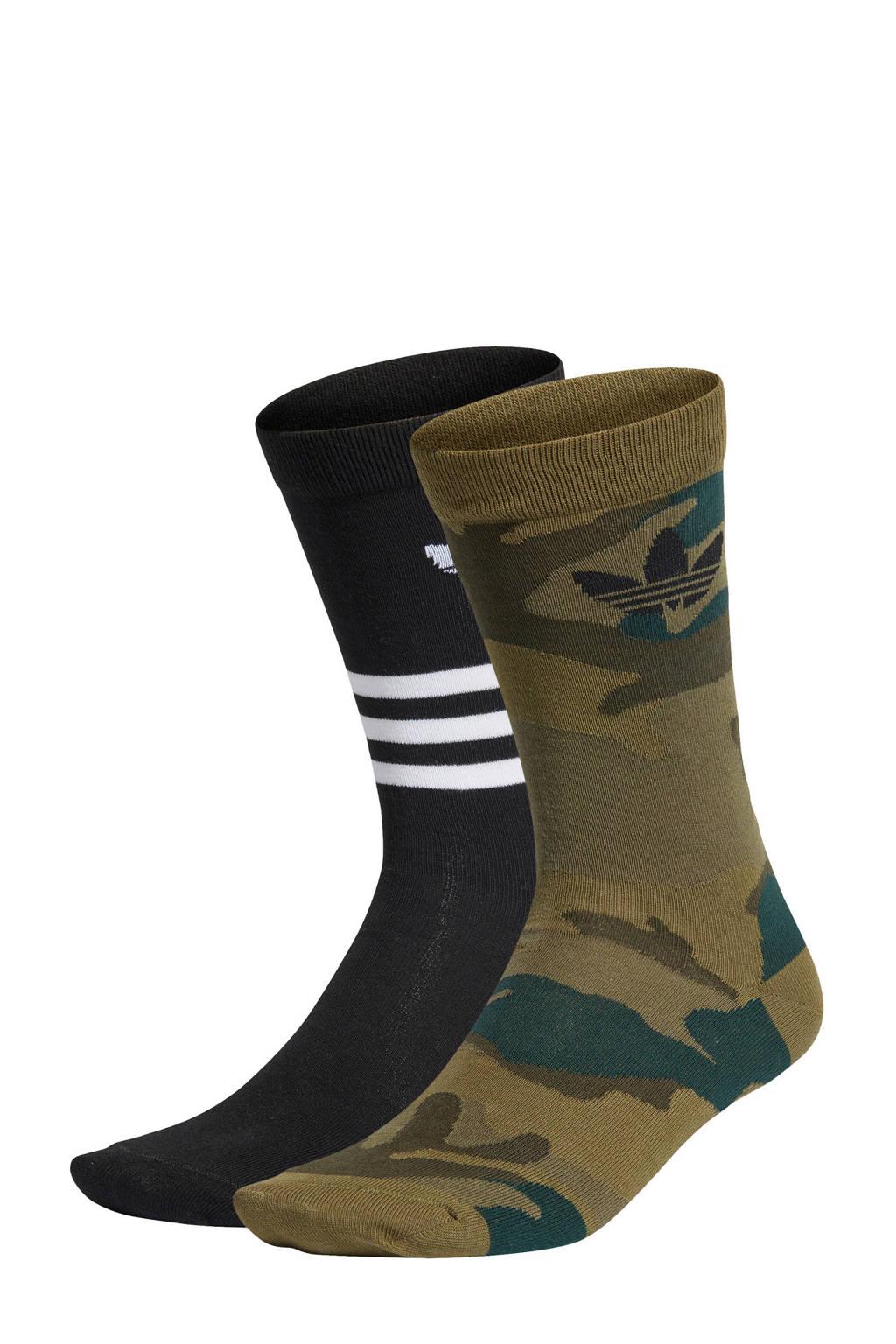 adidas Originals   sokken kaki/zwart (set van 2), Groen/zwart