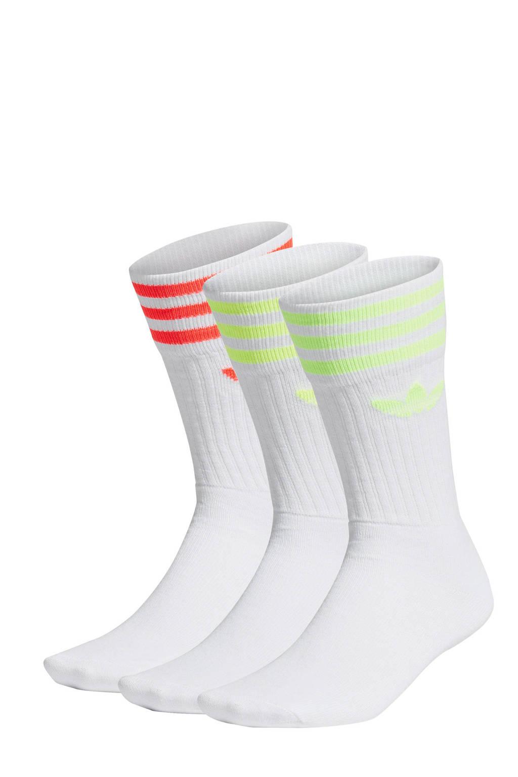 adidas Originals   Adicolor sokken (set van 3 paar) wit/groen/rood, Wit/groen/rood
