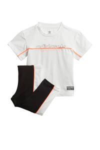 adidas Originals set van T-shirt en legging wit/zwart, Wit/zwart/oranje