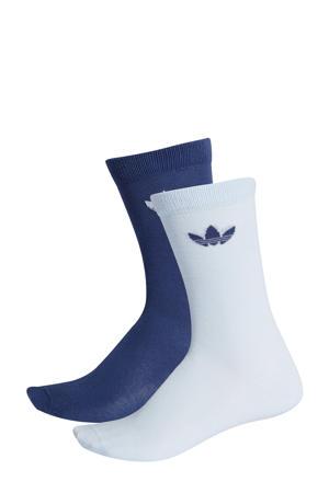 sportsokken wit/blauw (set van 2)