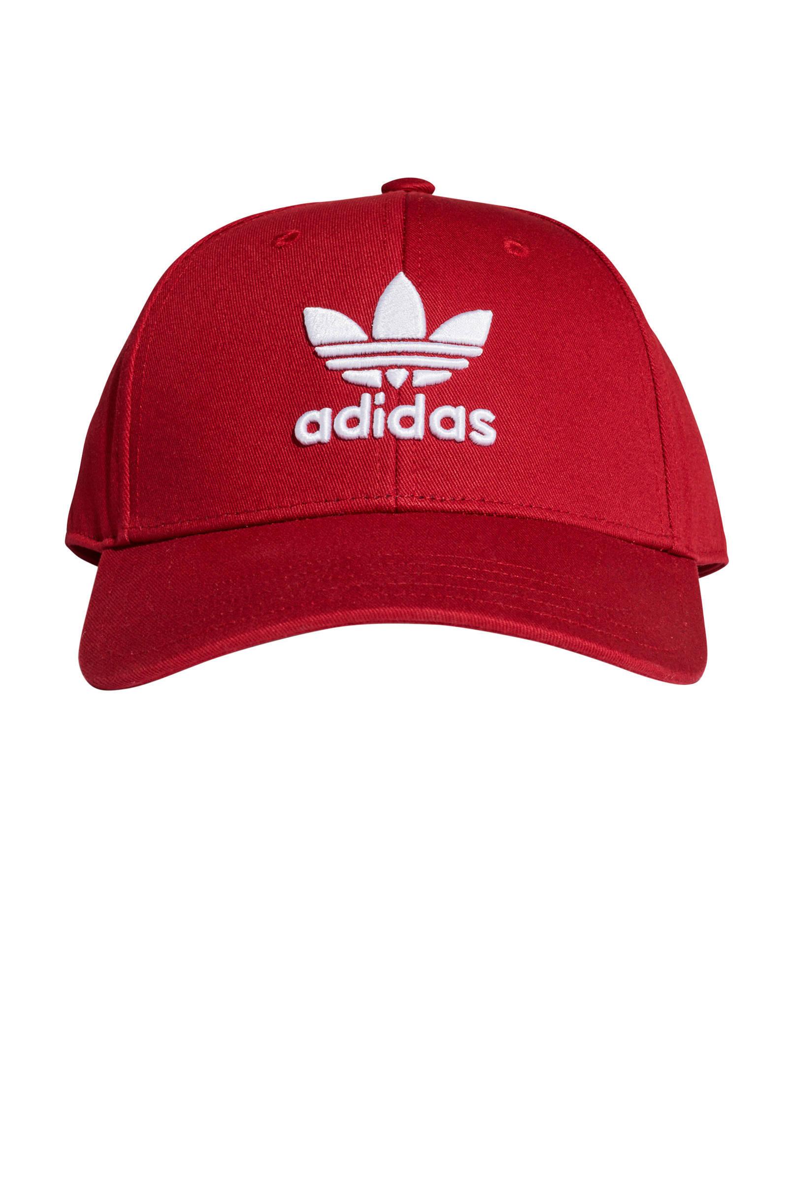adidas Originals pet donkerroodwit | wehkamp