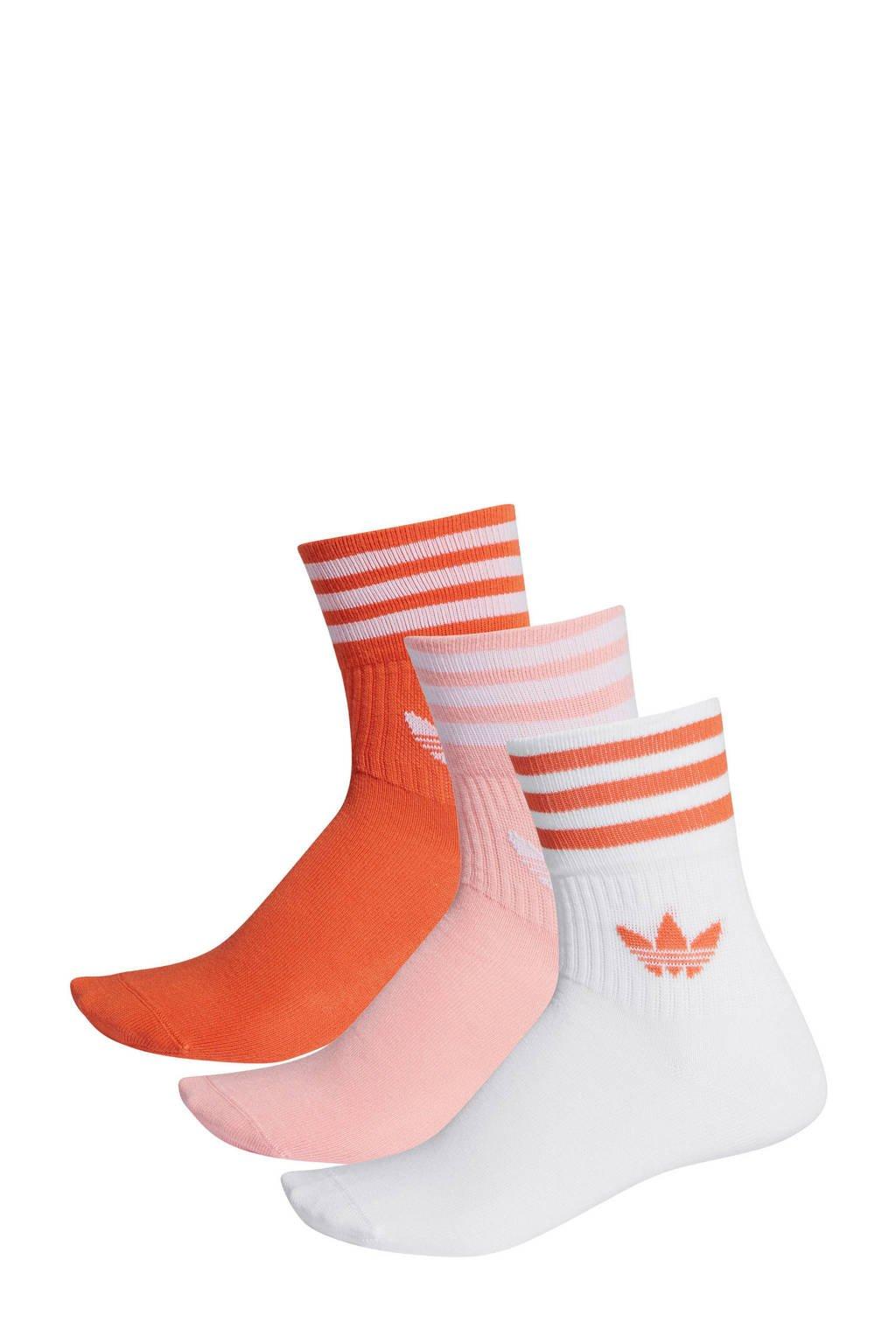 adidas Originals   Adicolor sokken (set van 3 paar) oranje/roze/wit, Oranje/roze/wit