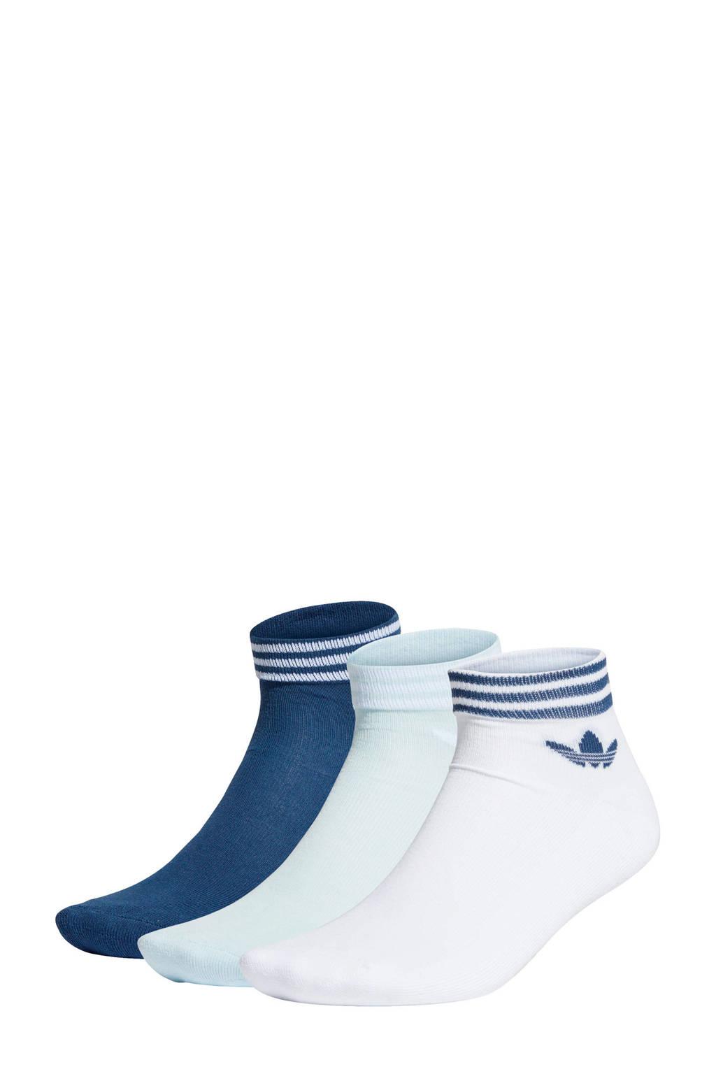 adidas Originals   sportsokken wit/blauw (set van 3), Wit/blauw