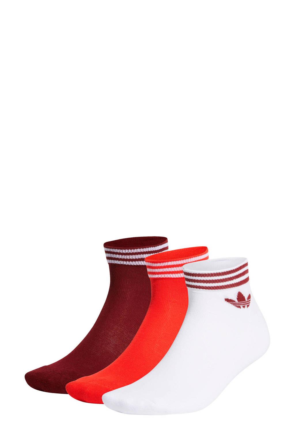adidas Originals   Adicolor enkelsokken (set van 3) rood, Zwart/wit/rood