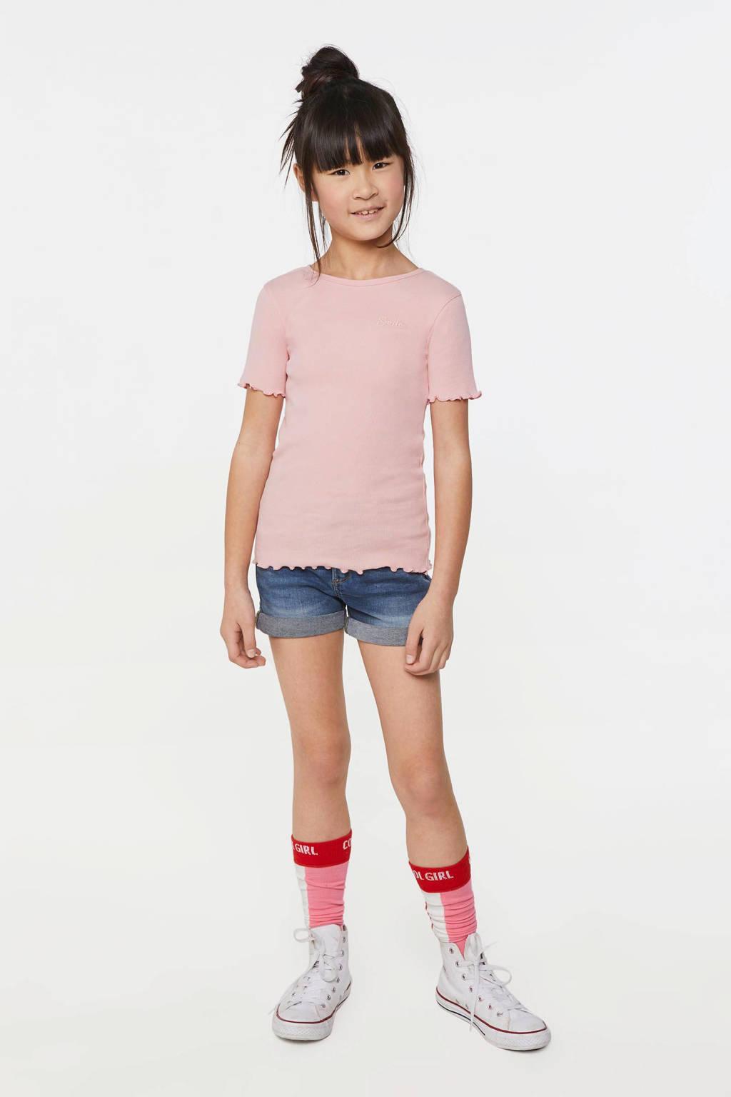 WE Fashion slim fit T-shirt lichtroze, Lichtroze