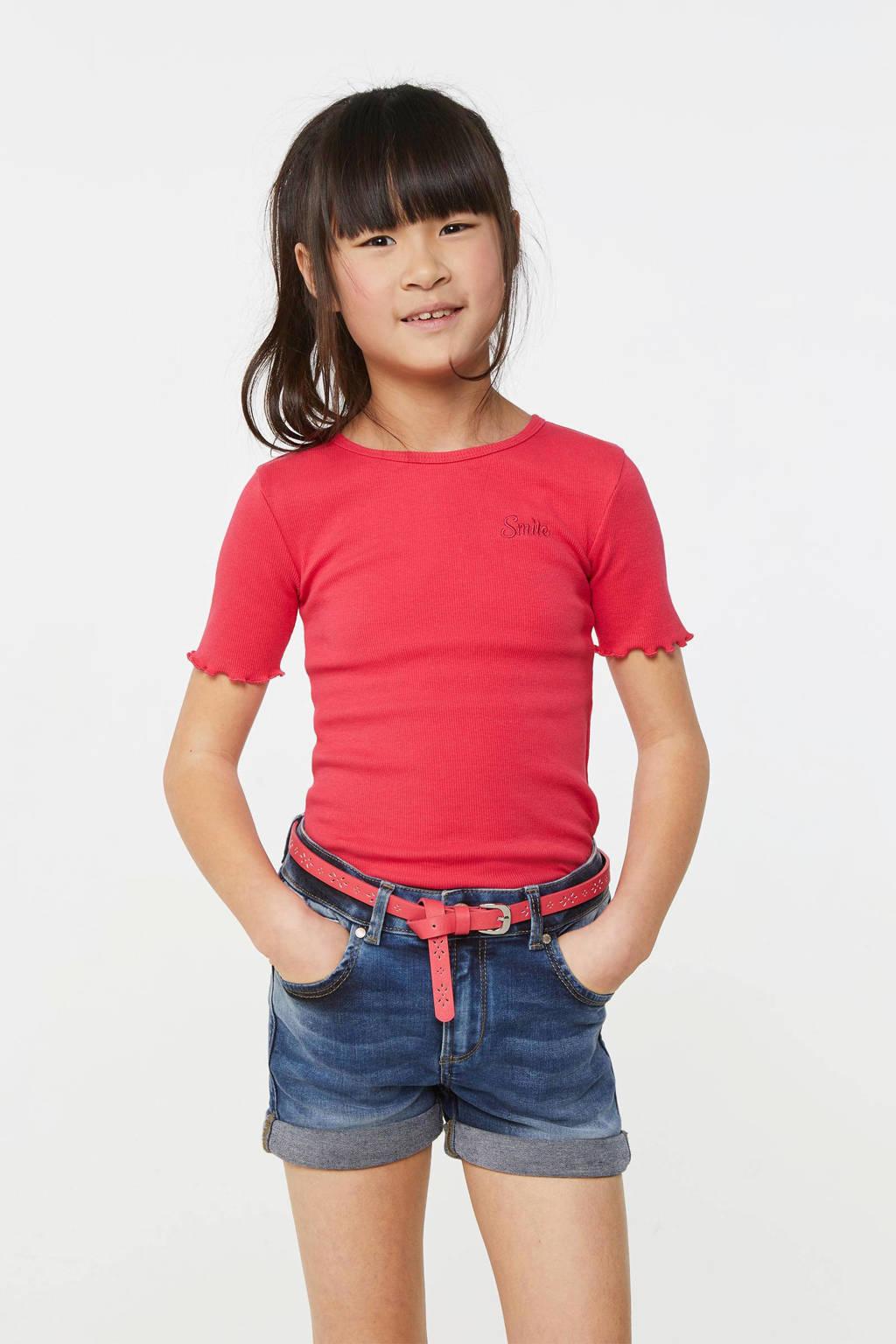 WE Fashion slim fit T-shirt donkerroze, Donkerroze