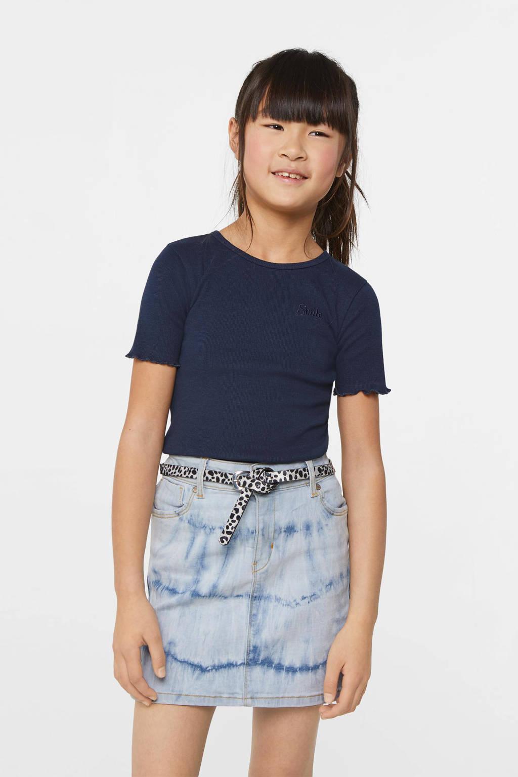 WE Fashion slim fit T-shirt donkerblauw, Donkerblauw