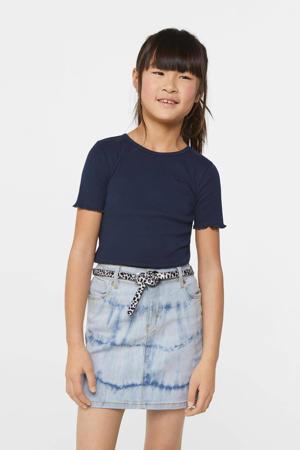slim fit T-shirt donkerblauw