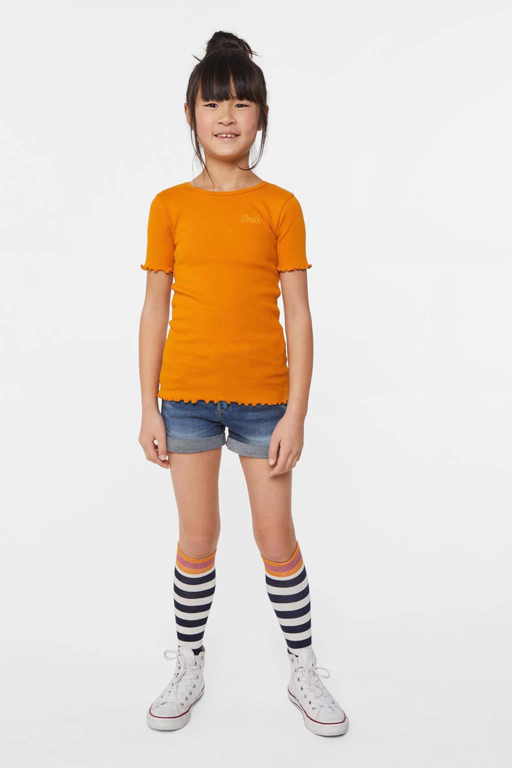 WE Fashion slim fit T-shirt oranje, Oranje