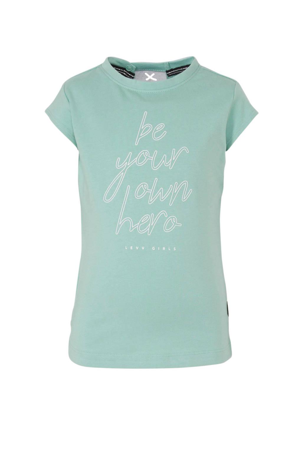 LEVV T-shirt Giselle met tekst mintgroen/wit, Mintgroen/wit