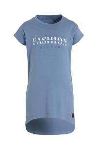 LEVV T-shirtjurk Faya met tekst lichtblauw/wit, Lichtblauw/wit