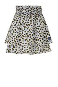 LEVV rok Flox met panterprint en ruches wit/lichtblauw/geel, Wit/lichtblauw/geel