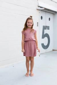 LEVV jurk Fanne met all over print en plooien lichtroze/oranje/donkerpaars, All over print