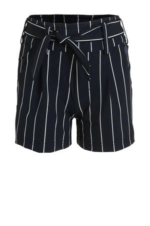 gestreepte short Fiene donkerblauw/wit