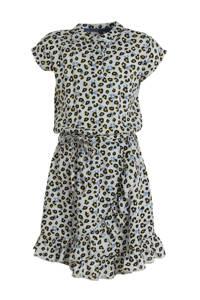 LEVV jurk Farida met panterprint en volant lichtblauw/zwart, Lichtblauw/zwart