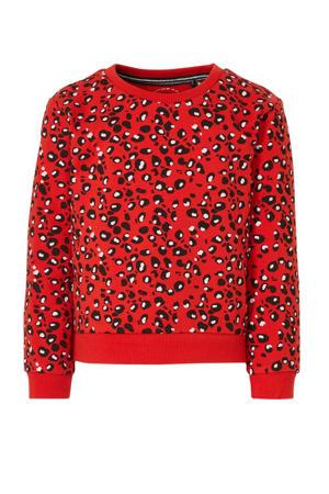 sweater Gera met panterprint rood/zwart/lichtroze
