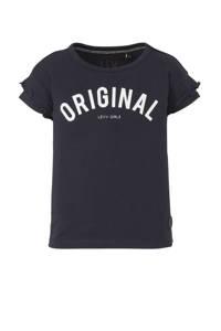 LEVV T-shirt Gladys met tekst en ruches antraciet/wit, Antraciet/wit