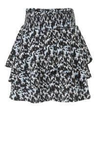 LEVV rok Freya met all over print en ruches zwart/lichtblauw/wit, Zwart/lichtblauw/wit