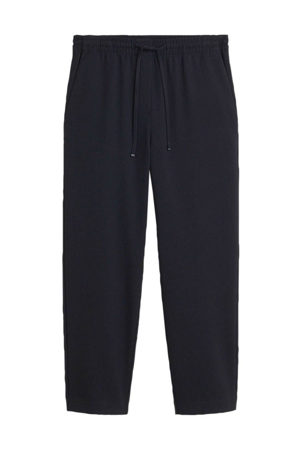 Mango high waist straight fit pantalon zwart, Zwart