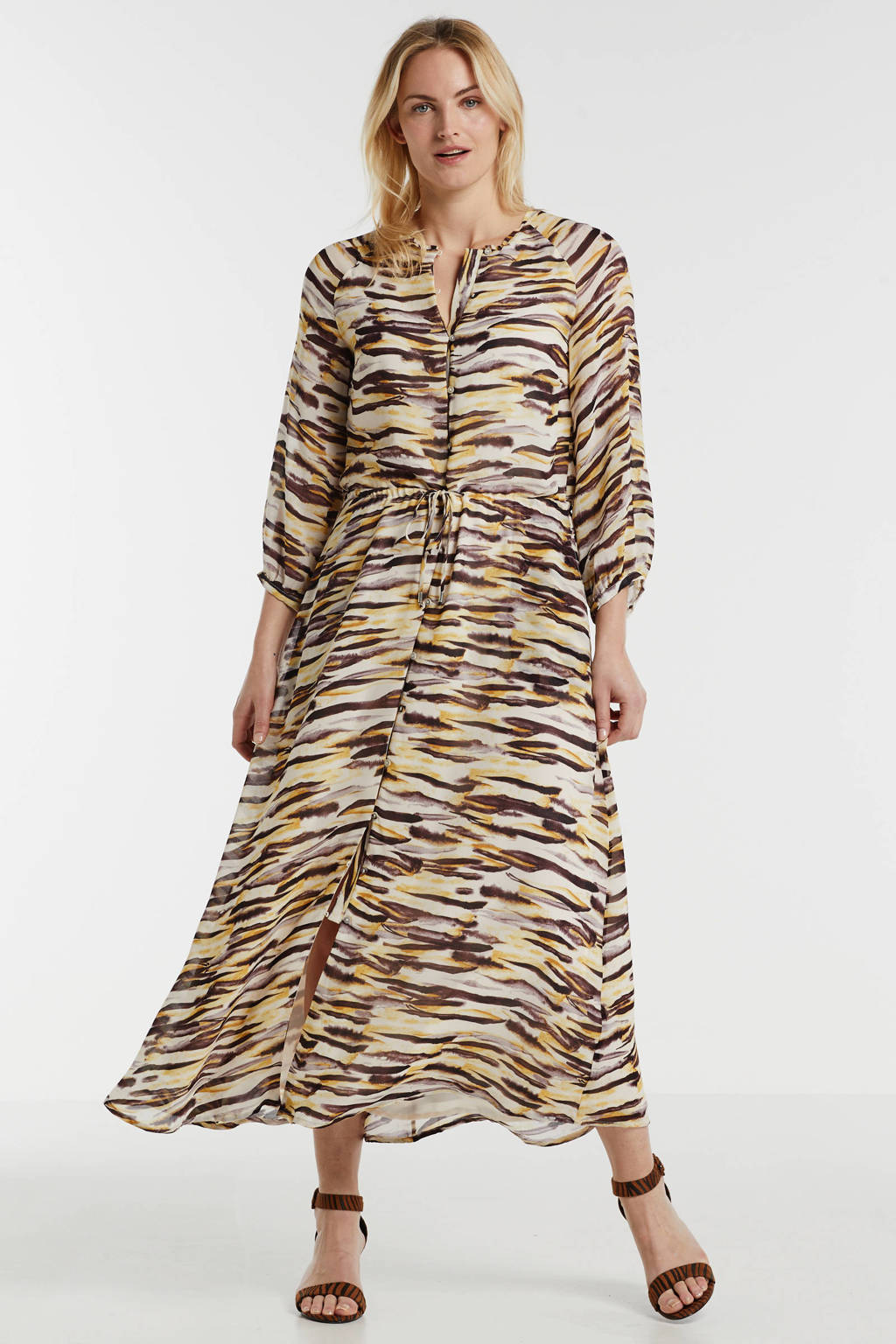 Inwear gestreepte maxi jurk DitaIW Dress beige/geel/bruin