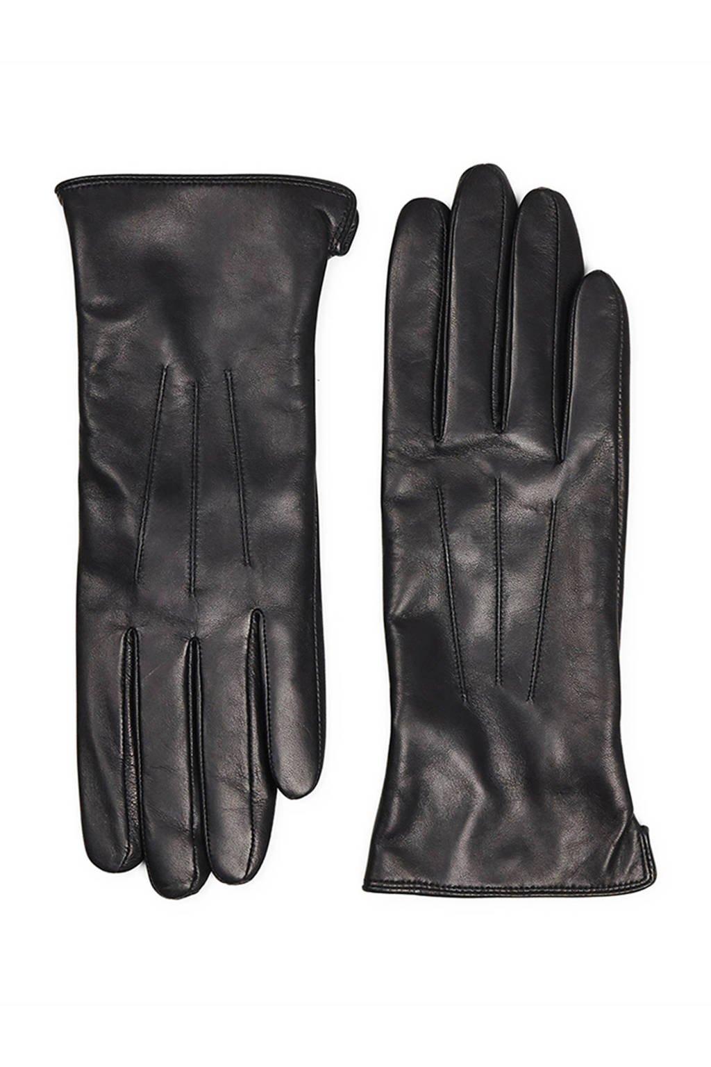 Markberg leren handschoenen zwart, Zwart