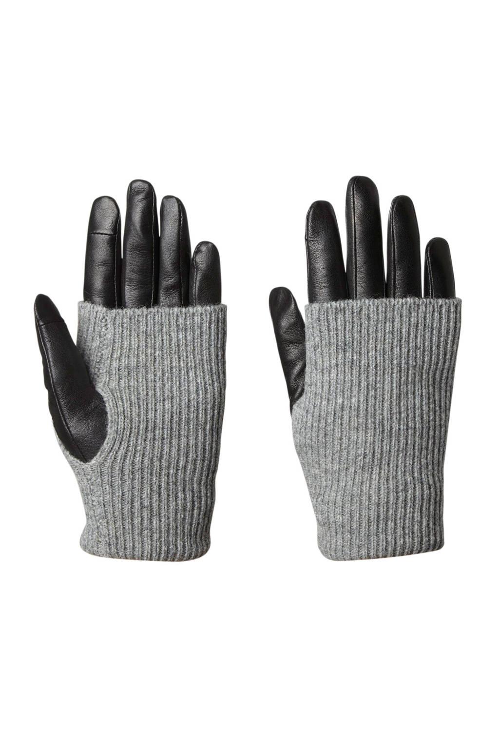 Markberg leren handschoenen zwart, Zwart/grijs