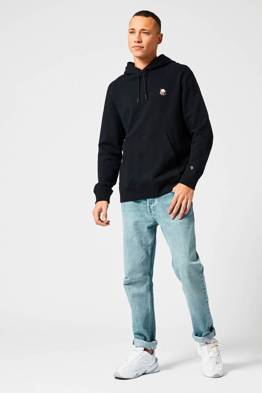 America Today hoodie met logo black, Black