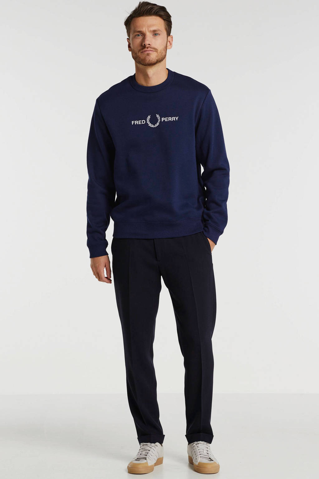 Fred Perry sweater met logo donkerblauw, Donkerblauw