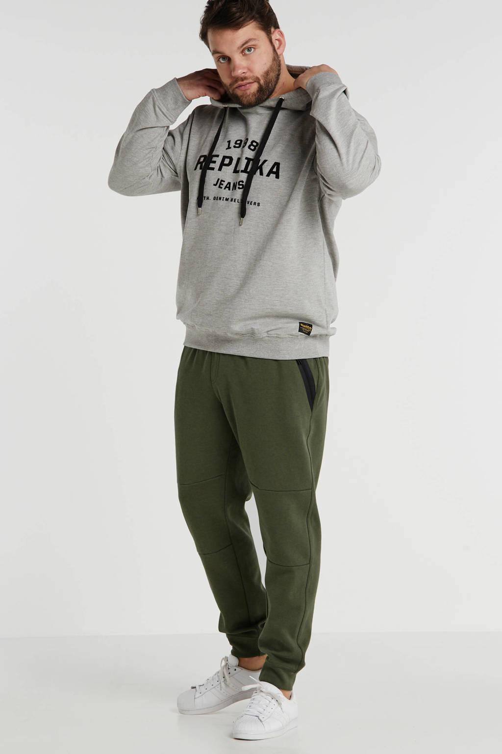 Replika +size hoodie met printopdruk grijs, Grijs melange