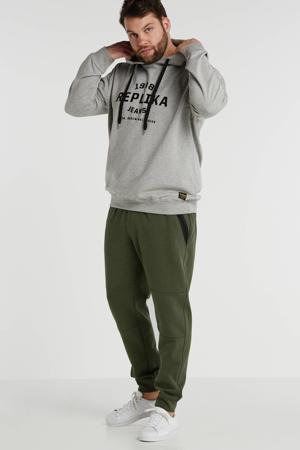 +size hoodie met printopdruk grijs
