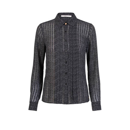 Steps semi-transparante blouse met hartjes zwart