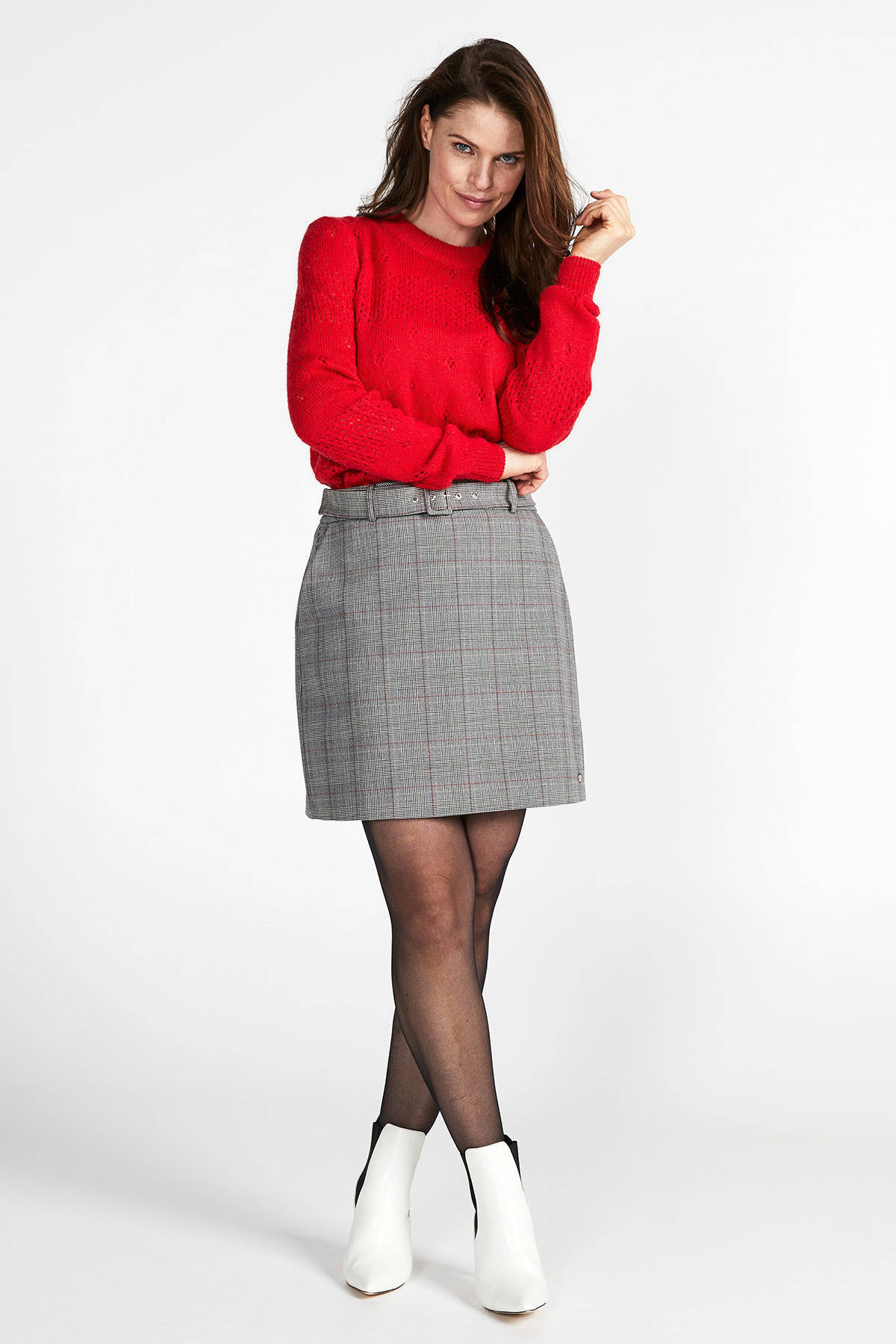 Steps geruite rok grijs/rood
