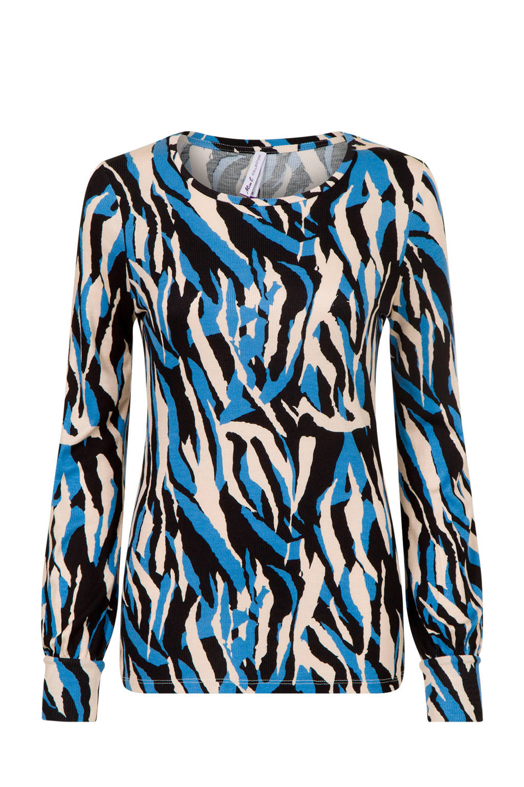Miss Etam Regulier T-shirt met all over print blauw, Blauw