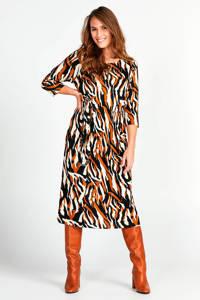 Miss Etam Regulier jurk met all over print bruin, Bruin