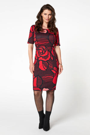 jersey jurk met all over print rood
