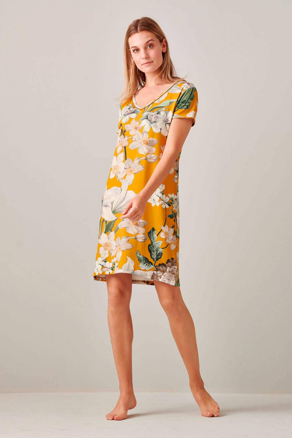 Essenza gebloemd nachthemd Emmylou Rosalee geel, Geel