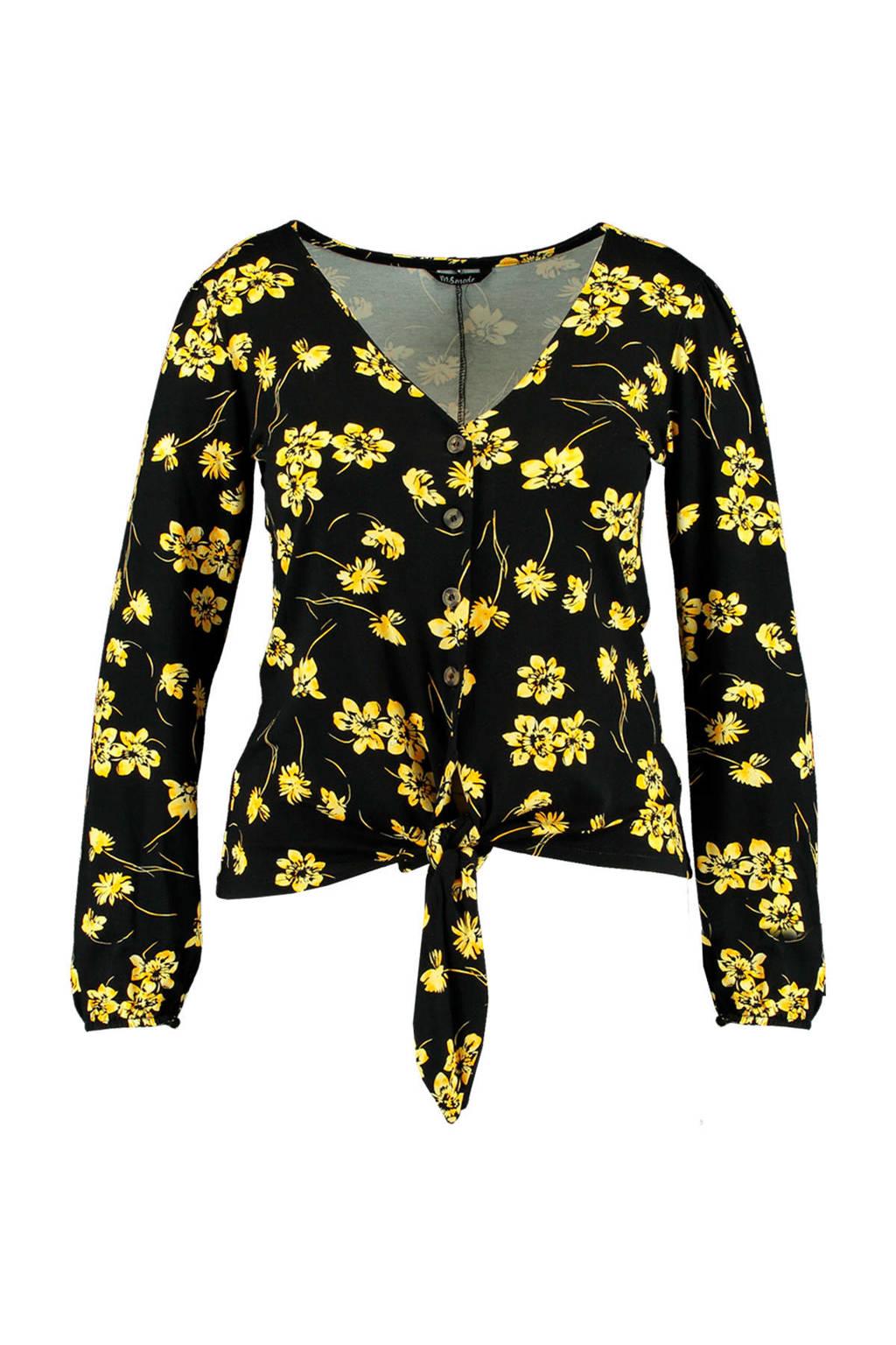 MS Mode gebloemde top zwart/geel, Zwart/geel