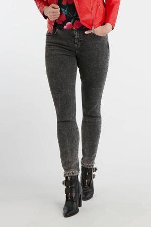 gemêleerde slim fit jeans donkergrijs