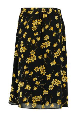 gebloemde rok zwart/geel