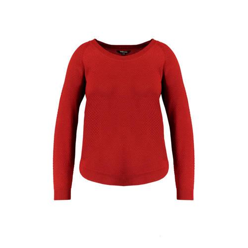 MS Mode trui met textuur steen rood