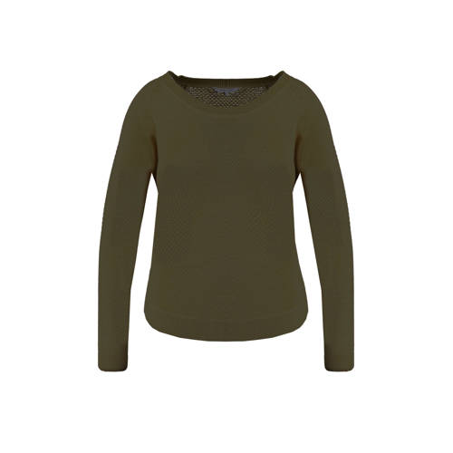 MS Mode trui met textuur olijf groen