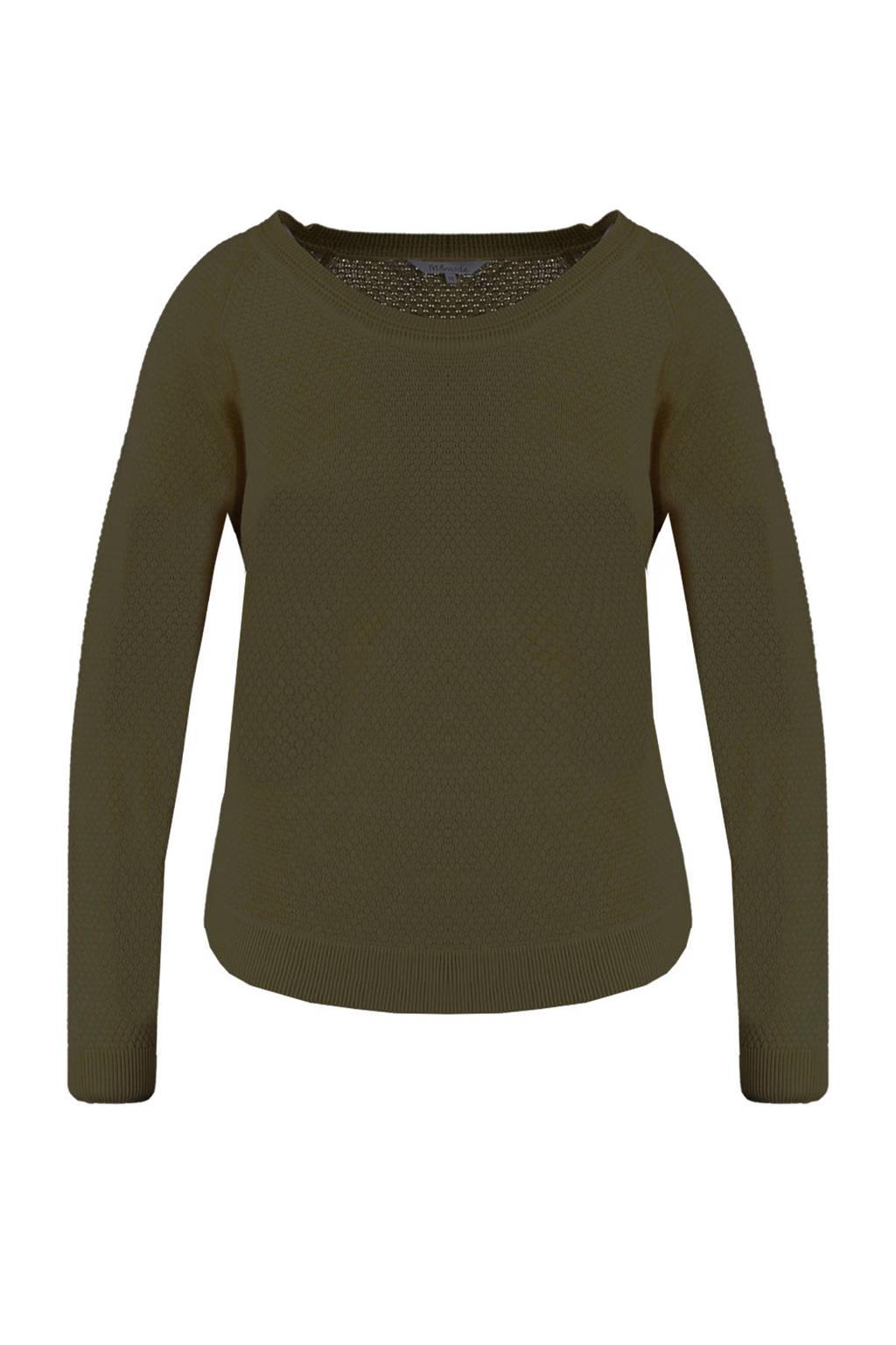 MS Mode trui met textuur olijf groen, Olijf groen