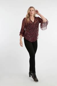 MS Mode slim fit jeans met sierstenen zwart, Zwart