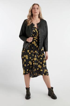 gebloemde maxi jurk zwart/geel