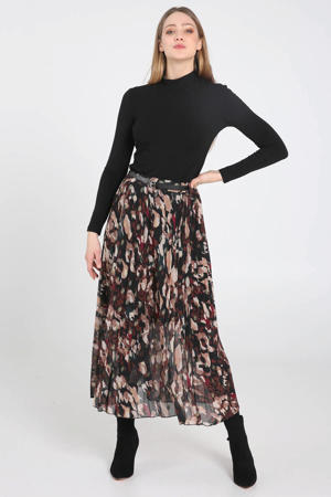 gebloemde semi-transparante plissé rok multicolor