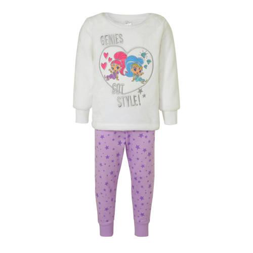 C&A pyjamabroek en sweater wit-zilver-paars
