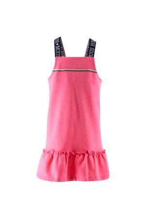 jersey jurk met ruches roze/zwart/wit