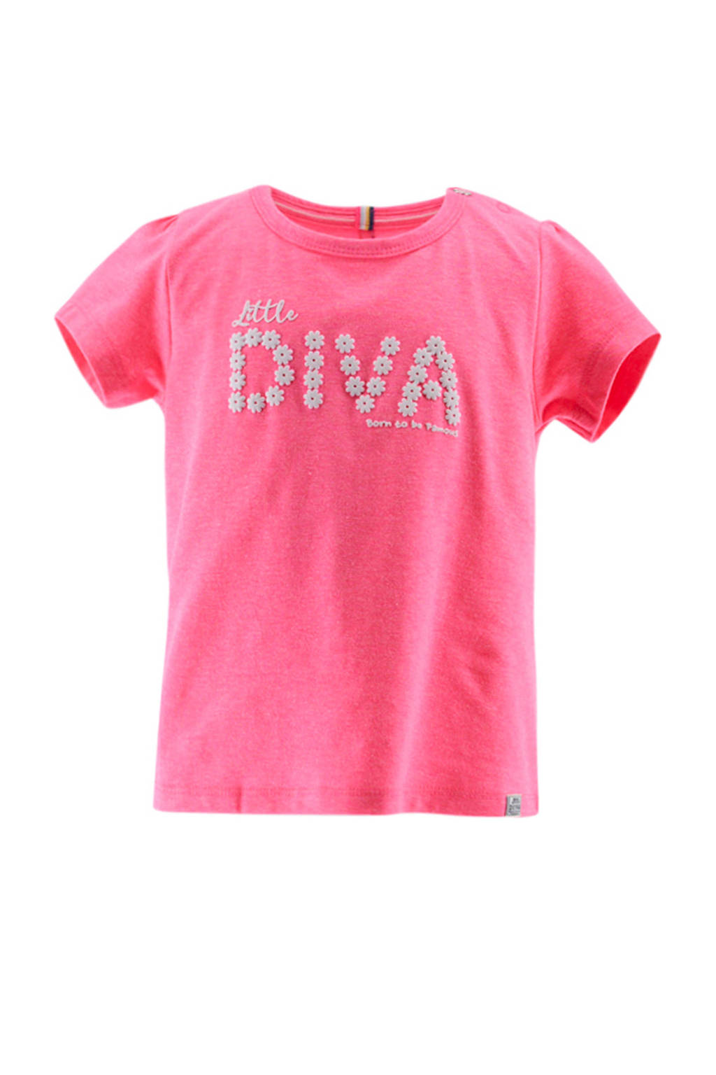 born to be famous. baby T-shirt met tekst roze/wit, Roze/wit