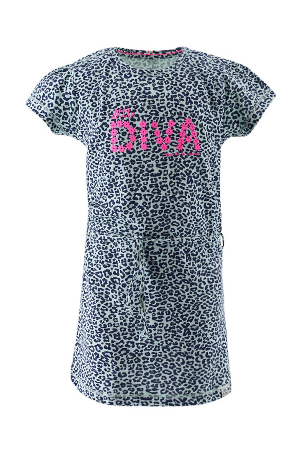 born to be famous. jersey jurk met panterprint en ceintuur mintgroen/donkerblauw/roze, Mintgroen/donkerblauw/roze